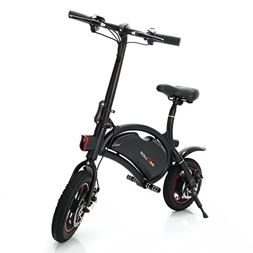 Rollgan Dolphin Electric Bike 12 inch Folding Body E-Bike Scooter 12 Mile Range,Collapsible Frame,APP Speed Setting,36V 350W Rear Engine Electric Bicycle,Mechanical Disc Brakes,Black
