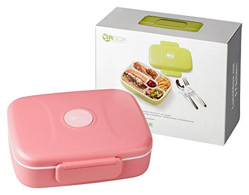 3RBOX Lunchbox | Bento Box | Brotdose mit Edelstahlbesteck (Pink)