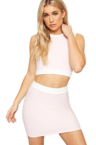 WearAll Damen Gerippt Strecke Ärmellos Crop Top Mini Rock Co-ORD Einstellen Damen Kontrast - Rosa - 34 (Co-gerippte Stretch)