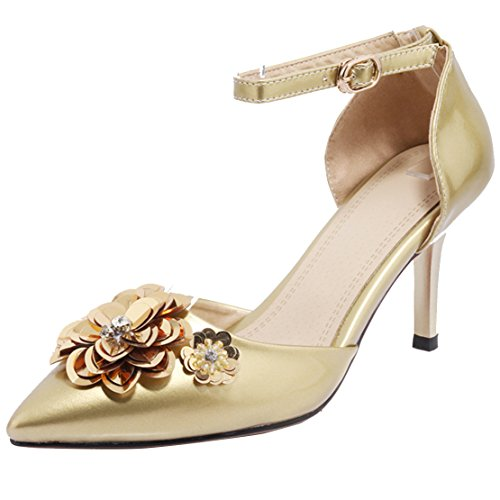 AIYOUMEI Damen Spitz Stiletto High Heels Pumps mit Blumen Party Absatz Schuhe Gold
