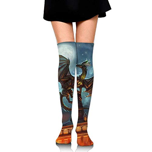 ncnhdnh Funny Dragon Womens Socks Thigh High Knee High Socks Running Socks (Dragon Lady Red Kostüme)