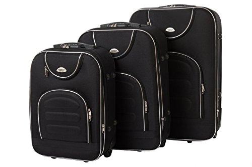 Softcase Kofferset New York 3-teilig Gr. M+L+XL, 56+67+76cm, 21+39+57Liter 7 versch. Farben (schwarz)