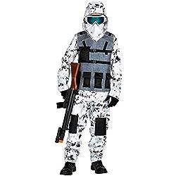 WIDMANN 01718 Arctic Special Forces - Disfraz para niños (158 cm), color blanco y gris