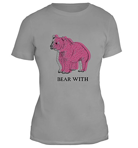 Mesdames T-Shirt avec Pink Hand Drawn Bear Illustration With Funny Bear With Phrase Slogan imprimé. Gris