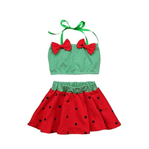 (feiXIANG Säuglings Baby Bademode , Kleinkinder Outfits Streifen Top + Polka Dot Baderock ,Kids Bogen Urlaub Strandwear (Grün,0-6 Months=2))