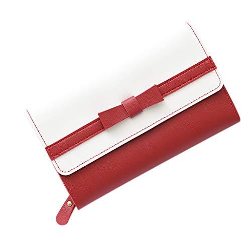 SuperSU Mode Damen Geldbörse Langer Portemonnaie Bowknot mit Schnalle Spleiß Geldbeutel,Groß Portmonee Einfarbig Multi-Card-Bit Geldtasche Einfach Damengeldbörse Lang Brieftasche