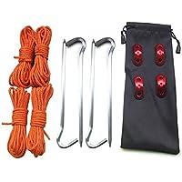 Dastrues Tienda Clavijas Clavijas Tienda Luz con Cable de tracción Cuerda Viento Hebillas Kit de Bolsa de Almacenamiento Acampar al Aire Libre Senderismo