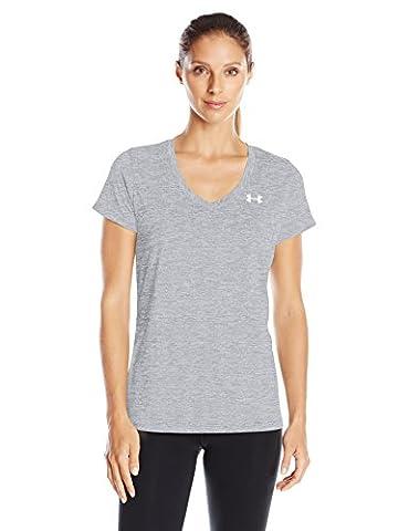 Under Armour Women's Tech Ssv Twist Short-Sleeve Shirt, Steel, L