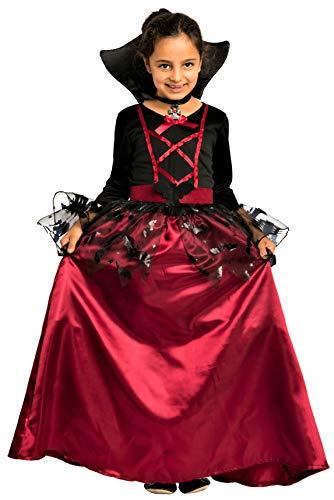 Magicoo Fledermaus Vampir Kostüm Kinder Mädchen mit Kragen - Schickes Halloween Vampirkostüm Kind Gr. 110 bis 140 (122/128)