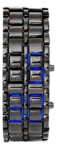 AccessoriesBySej Schwarz Band Digital Blue LED Lava-Armbanduhr Eisen Metall Samurai Herren