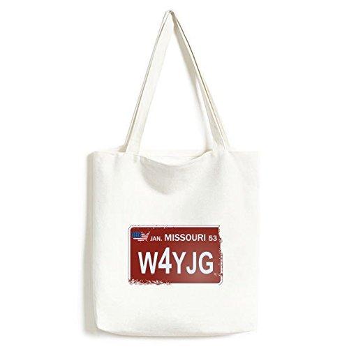 DIYthinker Usa American Car License Plate Nummer Missouri Kreative Illustration Muster moderner Entwurf Tasche Umwelt Tote große Kapazitäts Einkaufstas (License Missouri Plate)