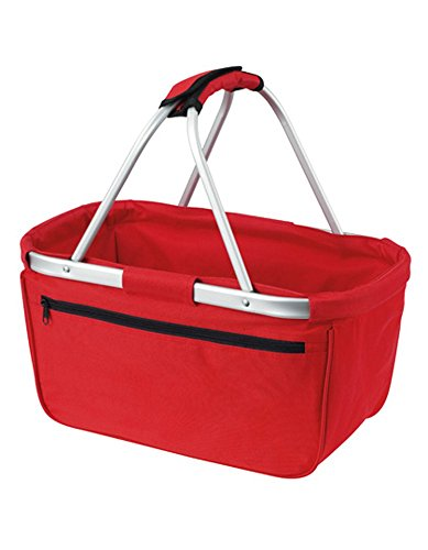 HALFAR® HF3939 Shopper Basket Einkaufskorb Korb mit Aluminiumgestäng faltbar , Farbe:RED