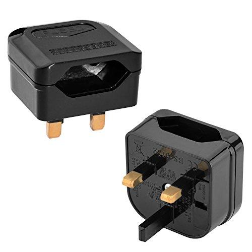 Incutex 2x adaptateurs de voyage pour UK GB Angleterre connecteur européen vers prise UK 3 broches, noir