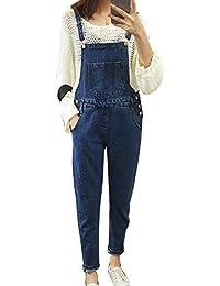 Femme Jeans Rétro Boyfriend Taille Haute Loose Denim Pantalons Salopette En Jeans