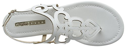 Buffalo 15bu0213 Leather Pu, Tongs femme Blanc - Blanc