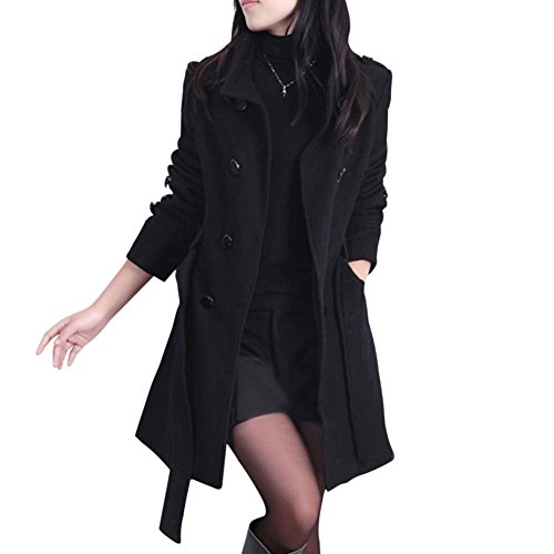 ROMANTIC BEAR Fashion Damen Casual Zweireiher Winter schlanke lange Trenchcoat