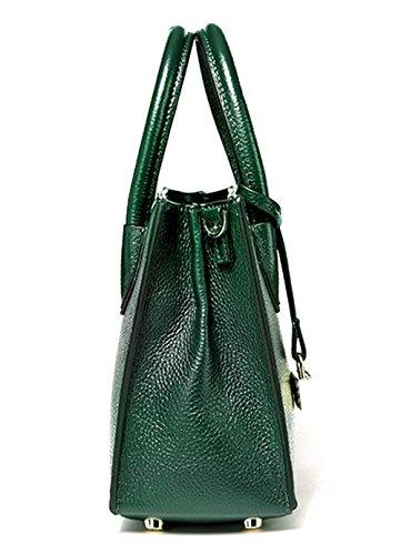 """Xinmaoyuan Borse donna borsa di """" commuters """" Pacchetto Vera Pelle vera pelle portatile borsa Messenger Bag,grigio Verde"""