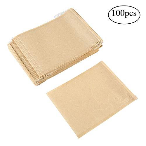 Aolvo jetables Cordon de serrage vide Sacs en papier pour filtre à thé herbes et thé les feuilles Lot de 100, Burlywood, l-8.5*11cm