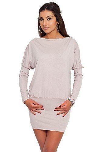 Futuro Fashion Glamour Femmes Mini Robe avec fermeture éclair sur épaule Jersey Manche Longue Tunique Tailles 8-18 UK 8440 Beige