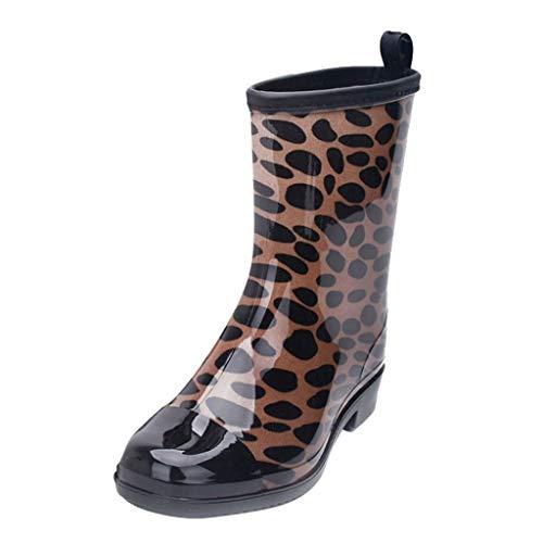 Fahion - Botas de Agua para Mujer (Impermeables, Antideslizantes, con Estampado de Leopardo/Flor), Color Marrón, Talla 39 EU