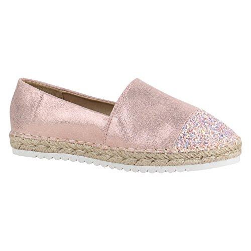 Damen Schuhe Lack Espadrilles Glitzer Slipper Flats Profilsohle 156207 Rosa Glitzer 38 Flandell