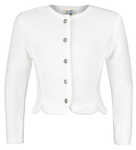 Isar-Trachten Strickjacke Amy für Mädchen - Weiß Gr. 104