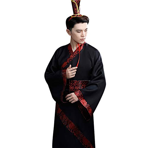 DAZISEN Uralt Chinesisches Hanfu - Männer Uralt Traditionell National Chinesischer Stil Tang Anzug Retro Cosplay Bühnenshow Drama Kostüm, Schwarz, EU XL = Tag (Chinesische Tanz Kostüm Männer)