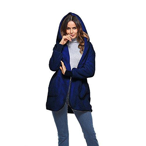 Vertvie Femme Cardigan Manteau à Capuche Fausse Fourrure Doux Veste Ouvert Polaire Chaud Parka Outwear Casual Automne Hiver Bleu