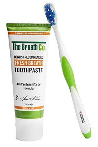 TetroBreath Atemfrisch Kombi gegen Mundgeruch (Zahnpasta mit Sauerstoff plus Zahnbürste/Zungenreiniger), 75 ml