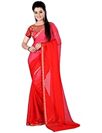 Glory Sarees Chiffon Saree (Vn15Red_Red)