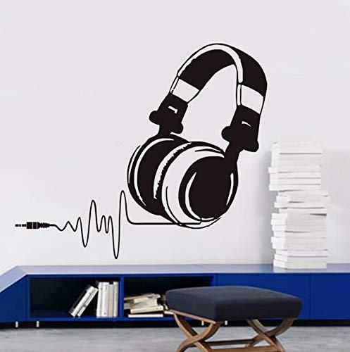 Dalxsh WandaufkleberKopfhörer Schlafzimmer Dekor SkizzeDiy Vinyl Abnehmbare Wandtattoos Musik Shop Klassenzimmer Dekoration Zubehör51x44 ()