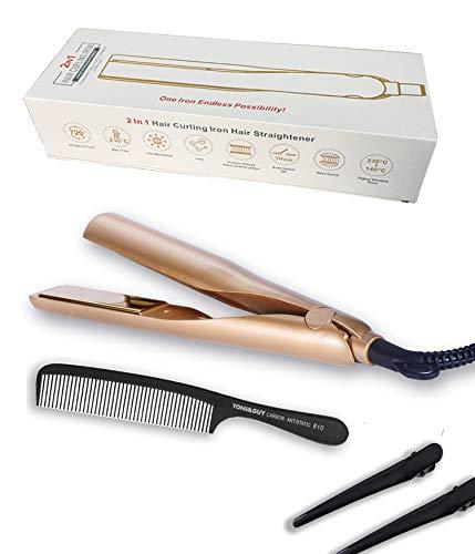 Haarglätter, 2 in 1 Lockenwickler Eisen zum Glätten der Haare, Keramikplatte mit automatischer Abschaltung, Infrarot-Heizung Turmalin, Leicht zu kontrollierender UK-Stecker, Gold (Gold)