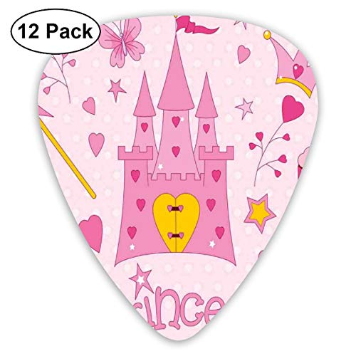 ks - 12 Pack,Abstract Art Colorful Designs,Little Princess Tiara Slippers Castle Butterfly Heart Lollipop Wand Cupcake,For Bass Electric & Acoustic Guitars. ()