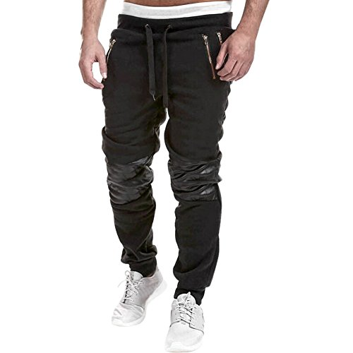West See Männer Sportshose Casual Baggy Hose Hiphop Jogginghose Pants Lässige Traininghose Sweatpants (DE L(Herstellergrößer XXL), Schwarz)