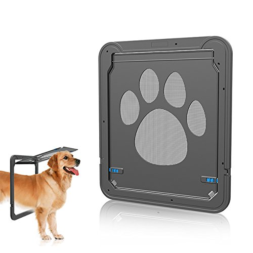 UHeng magnetisch Automatische Lock/Verschließbar Pet Bildschirm Tür Hund Tor Way Pet Tür für, Schwarz (Lock-bildschirm-tür)
