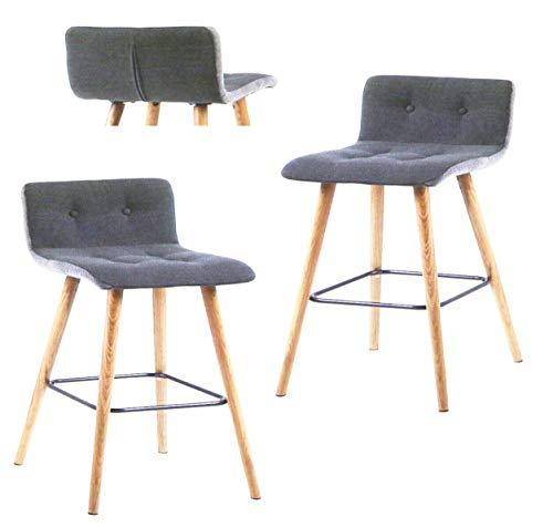 FidgetGear AC Design Furniture 60492 Barhocker 2-er Set Charlotte Knöpfen hellgrau NN684 B Show One Size -