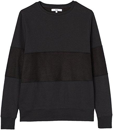 FIND Herren Patchwork-Pullover mit Fransensäumen, Schwarz (Black), Large
