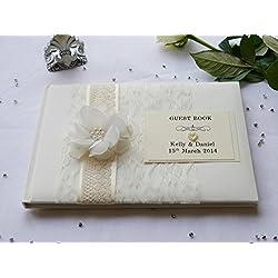 Libro de firmas para boda personalizado, diseño vintage de encaje, flores y perlas