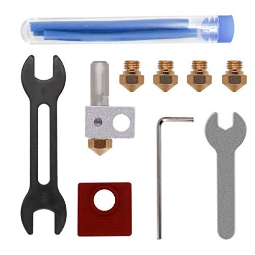TOOGOO Accesorios para Impresoras 3D MK10 Kit de Bloque de Enfriamiento de Metal con Boquilla de LatóN de 0,4 Mm Boquilla de LatóN de 0,6 Mm Forro de PTFE