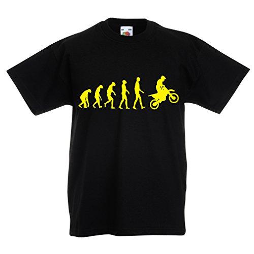 lepni.me Camiseta Niños/Niñas evolución del Motocross, Camisa de la Motocicleta, Desgaste de Las Carreras de Motos, Moto de Carretera (5-6 Years Negro Amarillo)