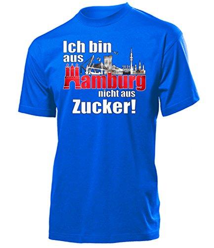Ich Bin aus Hamburg Nicht aus Zucker 4896 Fussball Fanshirt Fanartikel Hamburger Fan Geschenk Geburtstag Weihnachten Männer Herren T-Shirts Blau XL