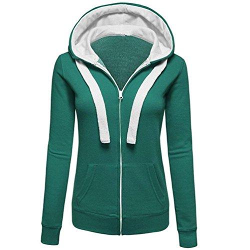 Damen Strickjacke,Frashing Damen Langarm Kapuzen Pullover Reißverschluss Jacke Sweatershirt Hooded Jumper Pullover Coat Zip Jacket S~3XL (L, Grün) (Double Anzug Classic Breasted)