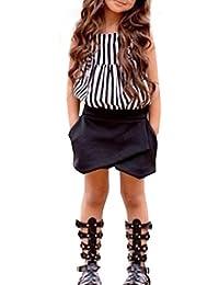 koly Chicas de camisa a rayas sin mangas Top + 1 traje de pantalón corto de PC