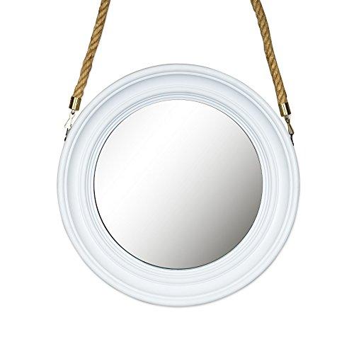 Spiegel 40cm Rund Wandspiegel Flurspiegel Weiß mit Kordel Wanddeko Deko Badspiegel