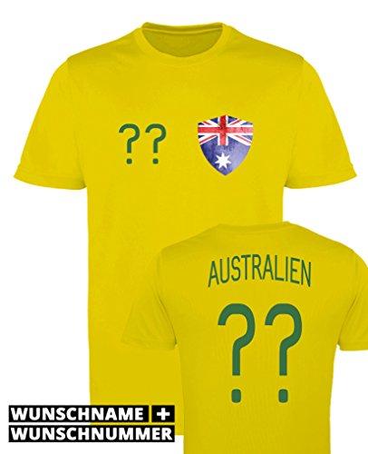 Comedy Shirts - Australien Trikot - Wappen: Klein - Wunsch - Herren Trikot - Gelb/Dunkelgrün Gr. 3XL - Australien Trikot