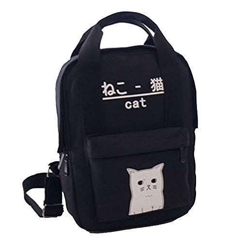 Damen Cute Japanese Katze Leinwand Rucksack, Leuchtende Nacht Entwurf Fest Farbe Einfache, Klassische Lässig Daypack Schulranzen Backpack Teenager Mädchen Reisen Rucksack Handtasche (Schwarz) - Cute Canvas Taschen