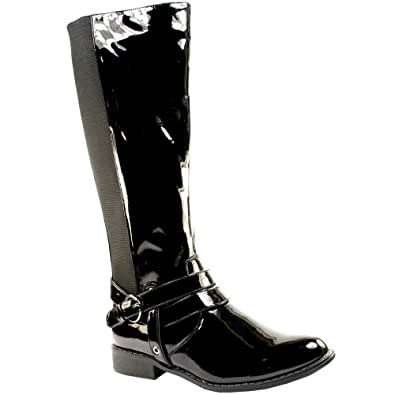 WOMENS KNEE HIGH BUCKLE BLACK PATENT WINTER RIDING BOOTS GUSSET LADIES SIZE 3-8