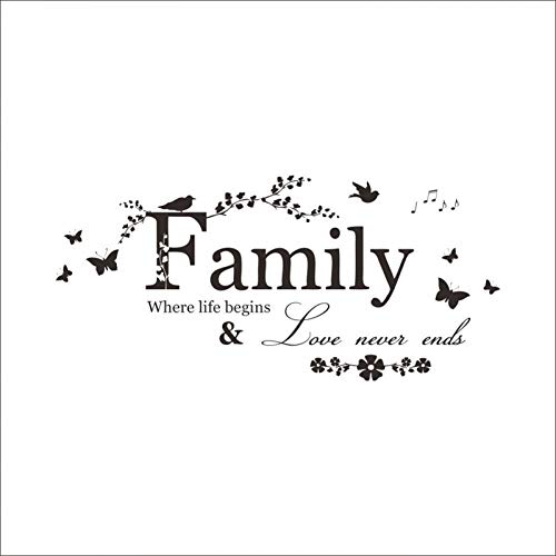 LETAMG Stickers Muraux Famille Love Never Ends Vinyle Sticker Mural Lettrage Art Mots Sticker Mural Décor À La Maison De Mariage Décoration Salon