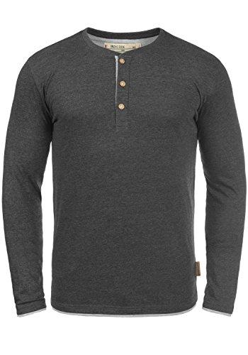 Indicode Gifford Herren Longsleeve Langarmshirt Shirt Mit Grandad-Ausschnitt, Größe:L, Farbe:Charcoal Mix (915) -
