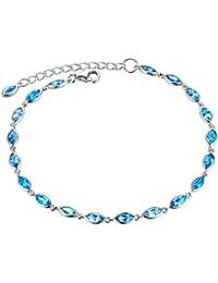 Aoiy Damen-Armband, Sterling Silber, klein 3.41 Karat Natürlicher Marquise-Form Schweizer Blau Topas, für Mädchen und Frau, zfb003la